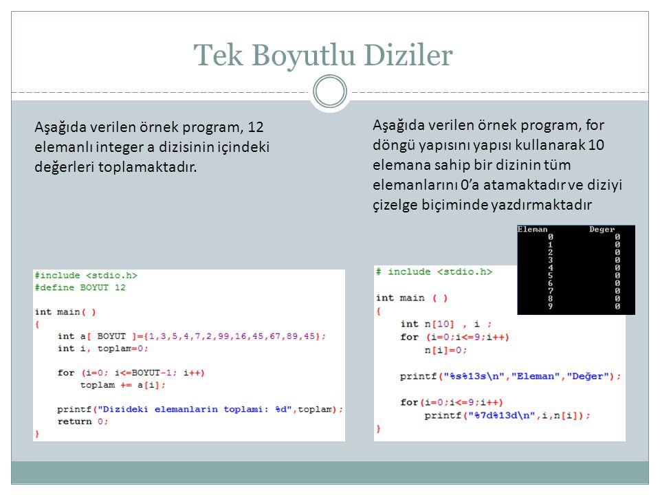 Tek Boyutlu Diziler Aşağıda verilen örnek program, 12 elemanlı integer a dizisinin içindeki değerleri toplamaktadır.