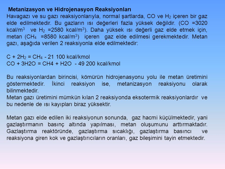 Metanizasyon ve Hidrojenasyon Reaksiyonları