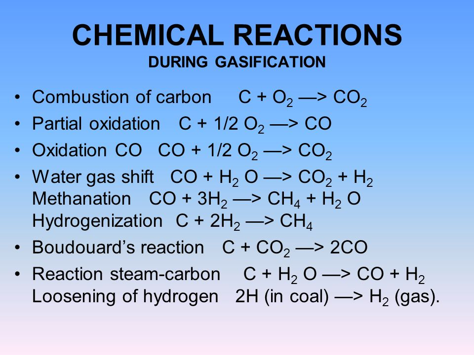 CHEMICAL REACTIONS DURING GASIFICATION