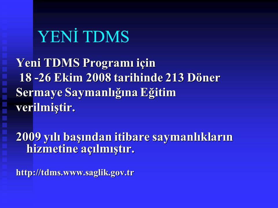 YENİ TDMS Yeni TDMS Programı için 18 -26 Ekim 2008 tarihinde 213 Döner
