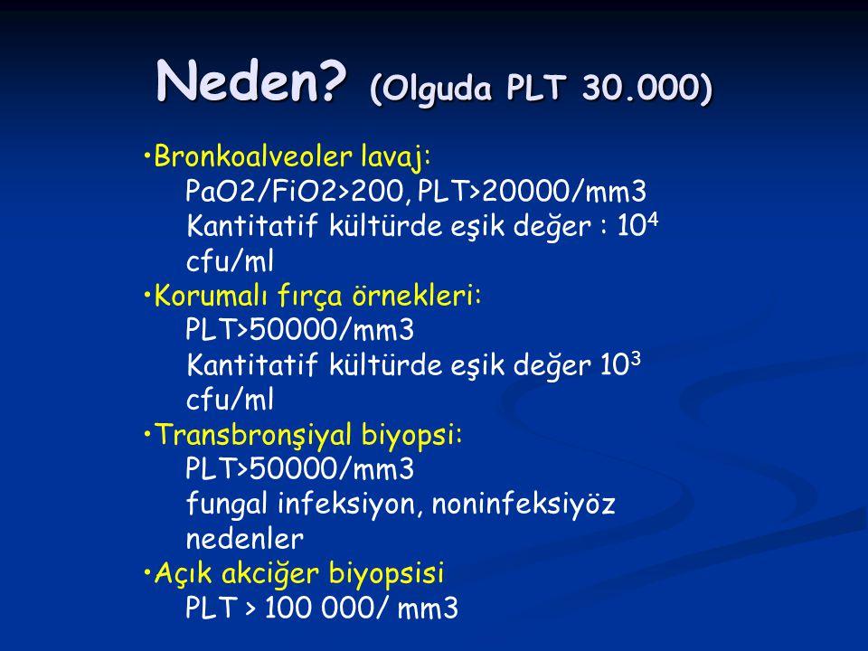 Neden (Olguda PLT 30.000) Bronkoalveoler lavaj: