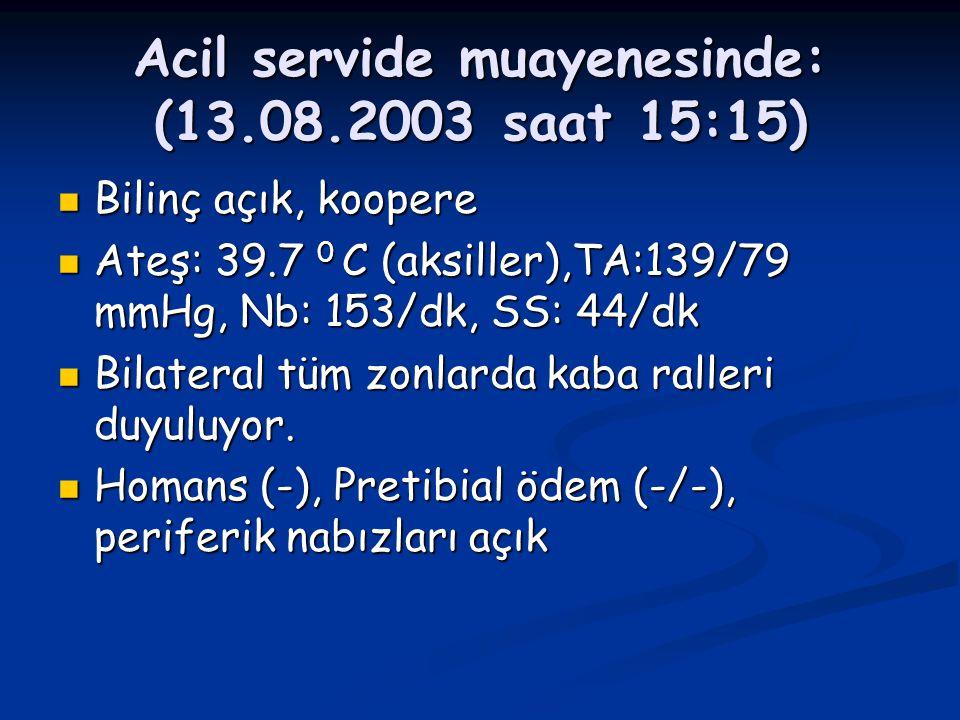 Acil servide muayenesinde: (13.08.2003 saat 15:15)