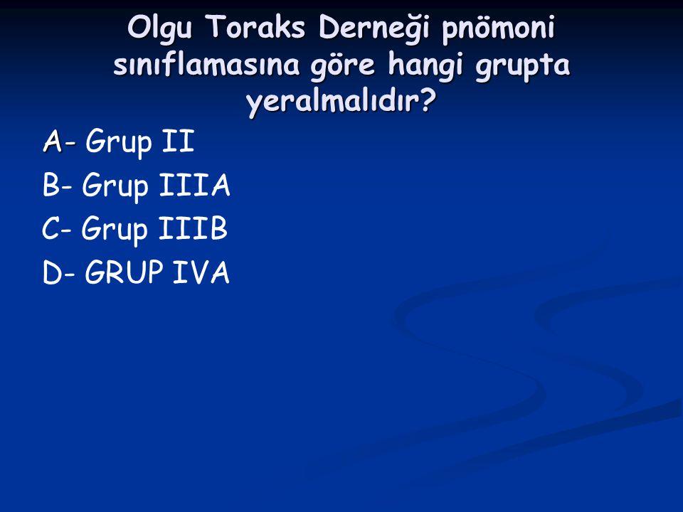 Olgu Toraks Derneği pnömoni sınıflamasına göre hangi grupta yeralmalıdır