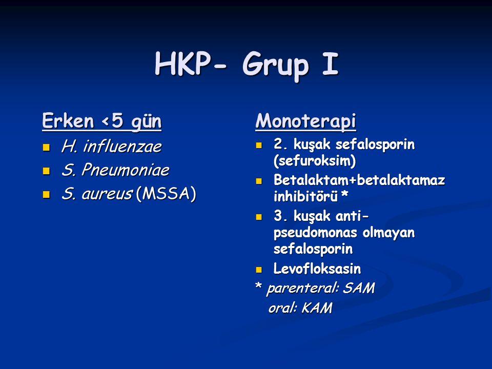 HKP- Grup I Erken <5 gün Monoterapi H. influenzae S. Pneumoniae
