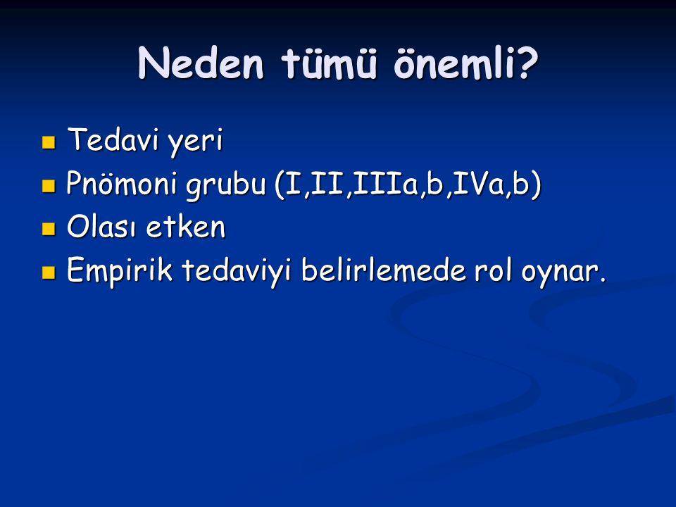 Neden tümü önemli Tedavi yeri Pnömoni grubu (I,II,IIIa,b,IVa,b)