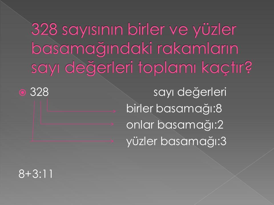 328 sayısının birler ve yüzler basamağındaki rakamların sayı değerleri toplamı kaçtır