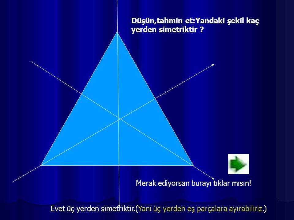 Düşün,tahmin et:Yandaki şekil kaç yerden simetriktir