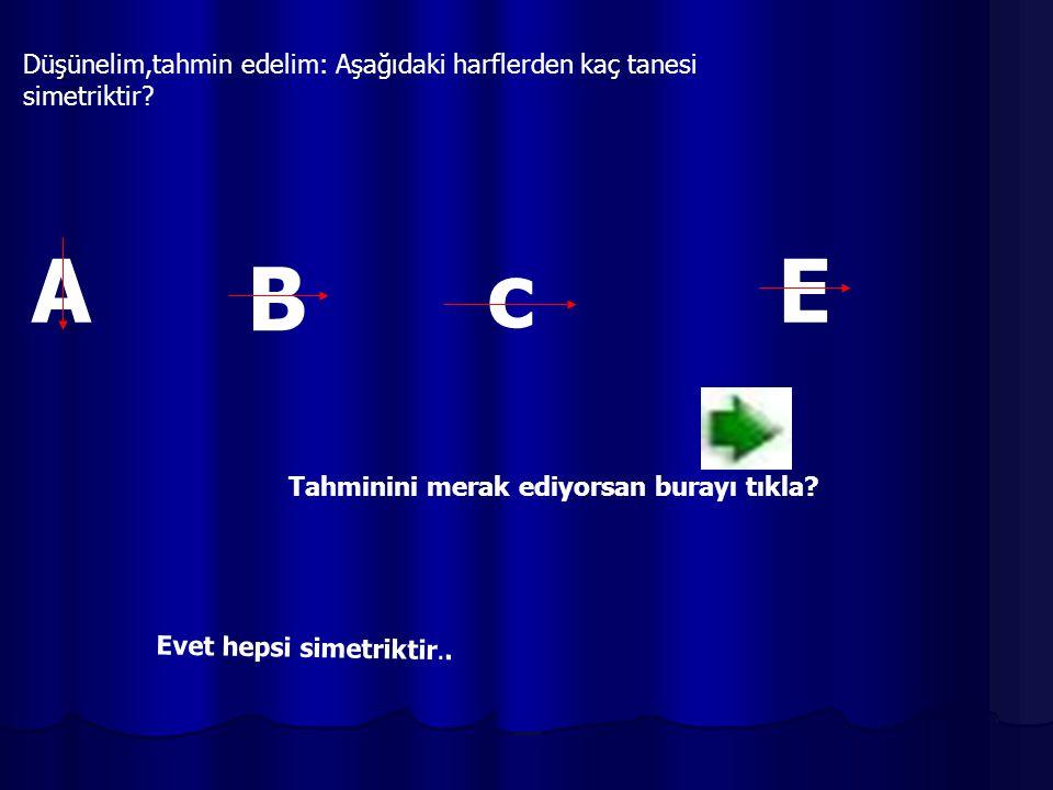 Düşünelim,tahmin edelim: Aşağıdaki harflerden kaç tanesi simetriktir