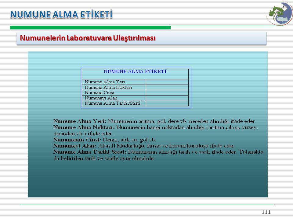 Kasım 2009 NUMUNE ALMA ETİKETİ Numunelerin Laboratuvara Ulaştırılması