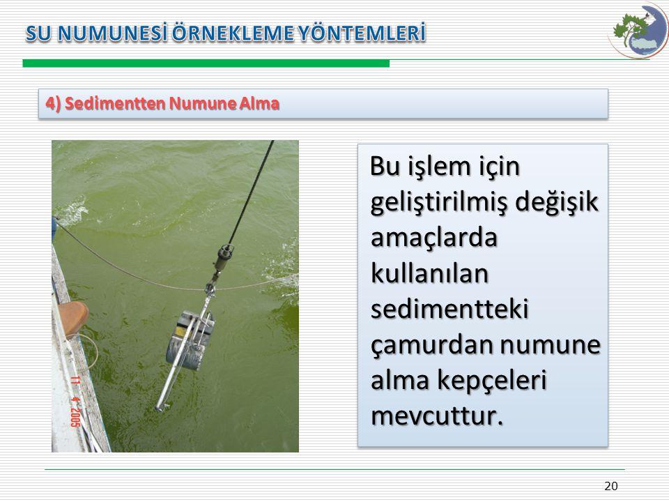 Kasım 2009 SU NUMUNESİ ÖRNEKLEME YÖNTEMLERİ. 4) Sedimentten Numune Alma.