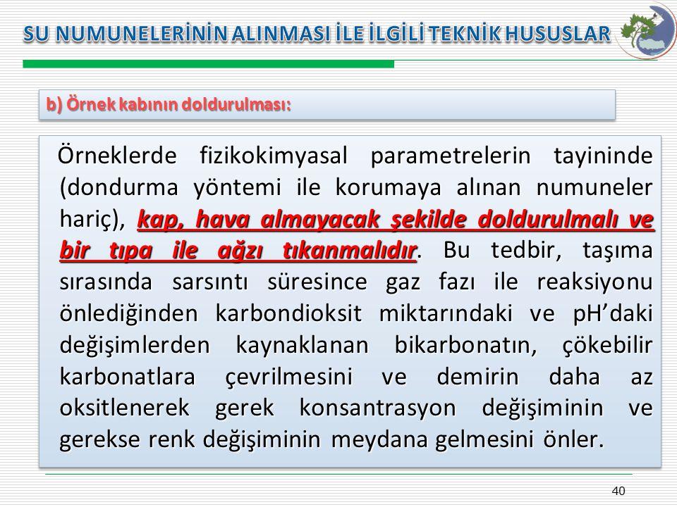 Kasım 2009 SU NUMUNELERİNİN ALINMASI İLE İLGİLİ TEKNİK HUSUSLAR. b) Örnek kabının doldurulması: