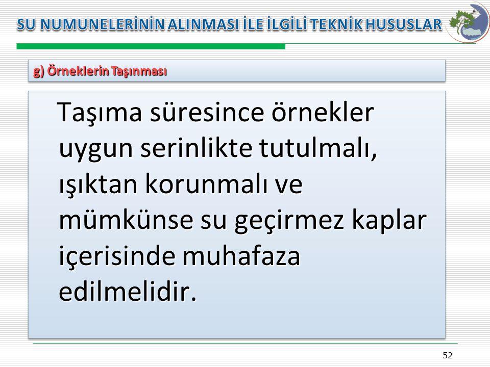 Kasım 2009 SU NUMUNELERİNİN ALINMASI İLE İLGİLİ TEKNİK HUSUSLAR. g) Örneklerin Taşınması.
