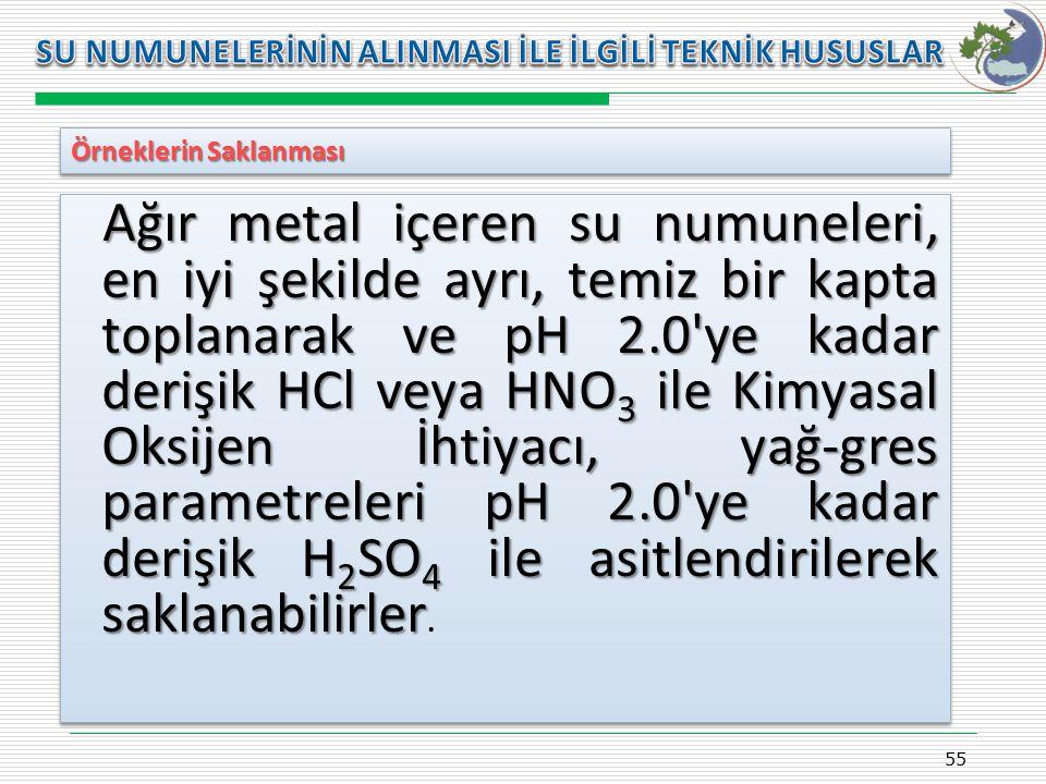Kasım 2009 SU NUMUNELERİNİN ALINMASI İLE İLGİLİ TEKNİK HUSUSLAR. Örneklerin Saklanması.