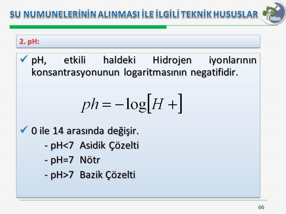- pH<7 Asidik Çözelti - pH=7 Nötr - pH>7 Bazik Çözelti