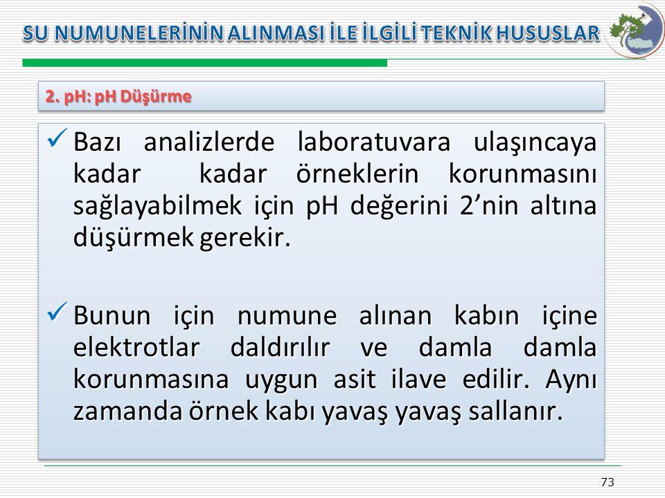 Kasım 2009 SU NUMUNELERİNİN ALINMASI İLE İLGİLİ TEKNİK HUSUSLAR. 2. pH: pH Düşürme.