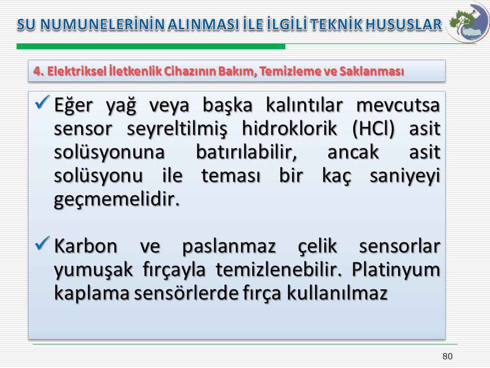Kasım 2009 SU NUMUNELERİNİN ALINMASI İLE İLGİLİ TEKNİK HUSUSLAR. 4. Elektriksel İletkenlik Cihazının Bakım, Temizleme ve Saklanması.