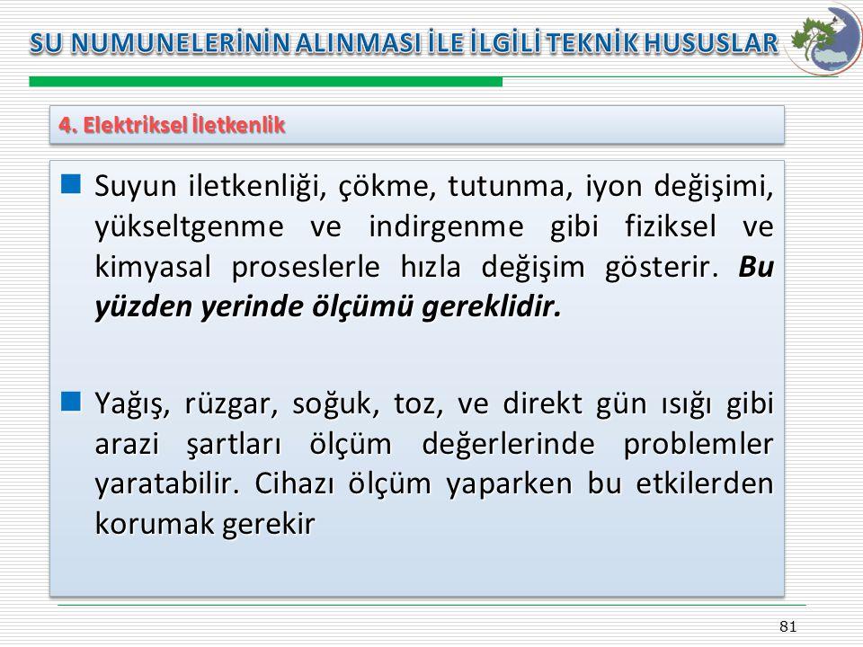 Kasım 2009 SU NUMUNELERİNİN ALINMASI İLE İLGİLİ TEKNİK HUSUSLAR. 4. Elektriksel İletkenlik.