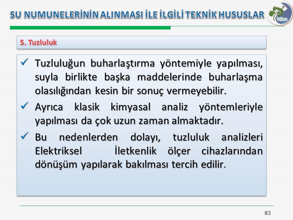 Kasım 2009 SU NUMUNELERİNİN ALINMASI İLE İLGİLİ TEKNİK HUSUSLAR. 5. Tuzluluk.