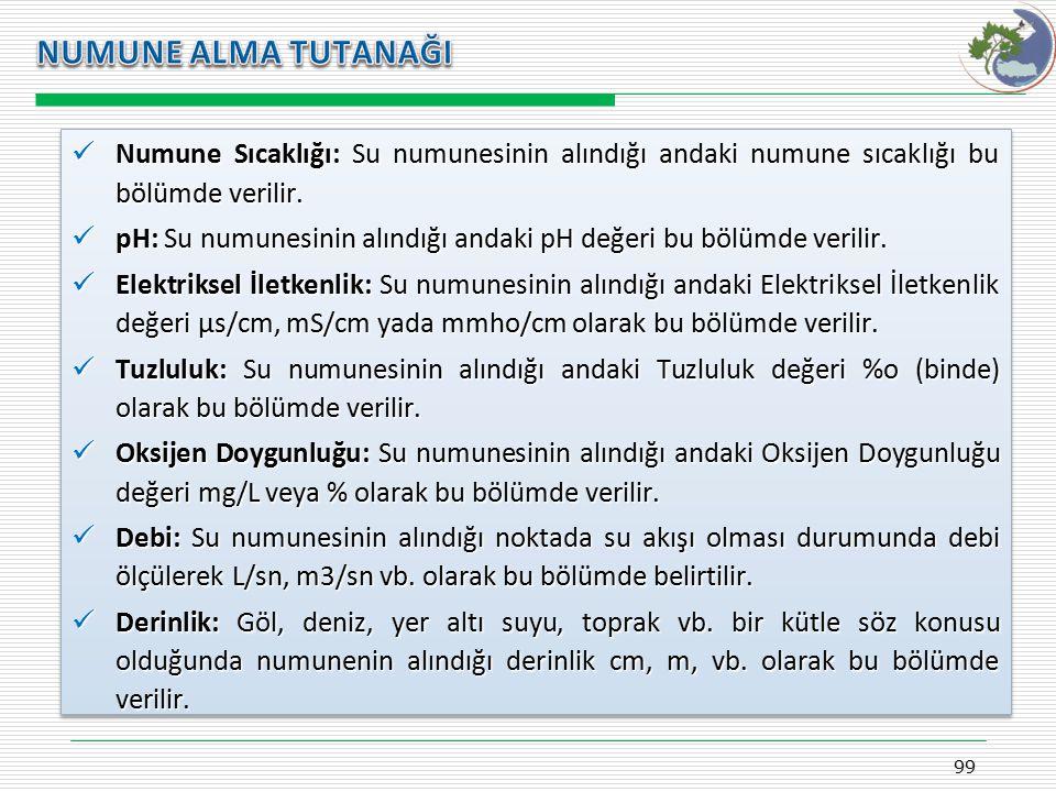 Kasım 2009 NUMUNE ALMA TUTANAĞI. Numune Sıcaklığı: Su numunesinin alındığı andaki numune sıcaklığı bu bölümde verilir.