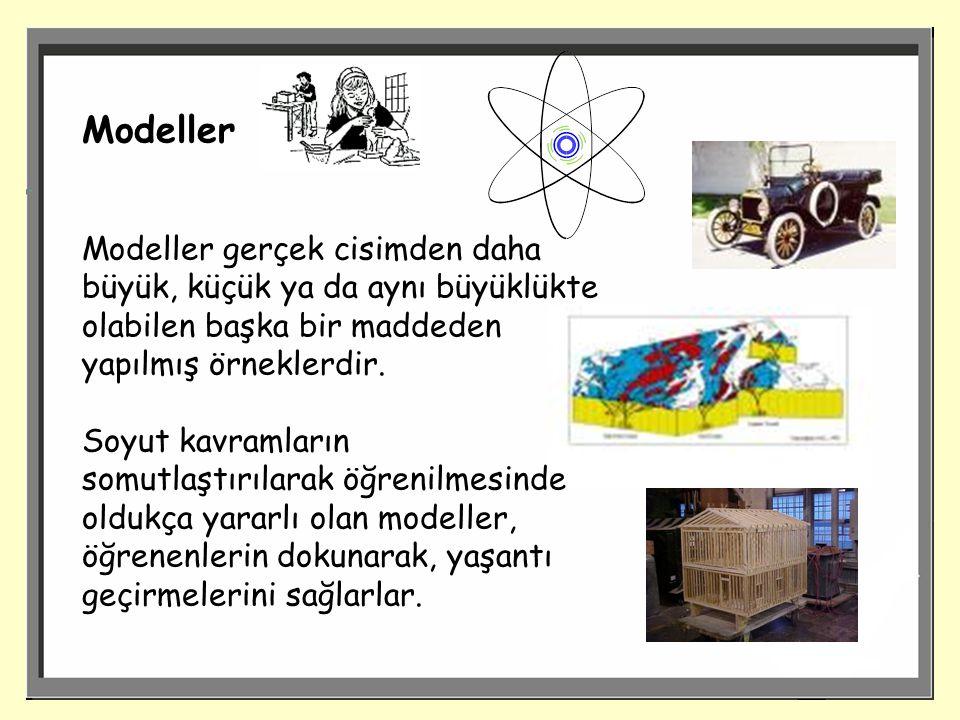 Modeller Modeller gerçek cisimden daha büyük, küçük ya da aynı büyüklükte olabilen başka bir maddeden yapılmış örneklerdir.