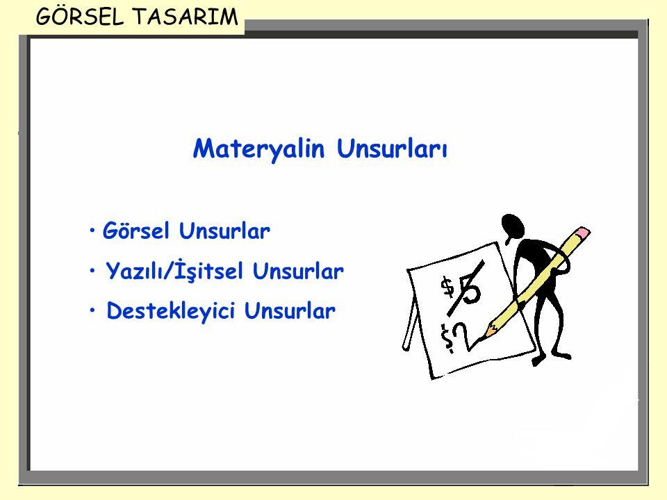 Materyalin Unsurları GÖRSEL TASARIM Görsel Unsurlar