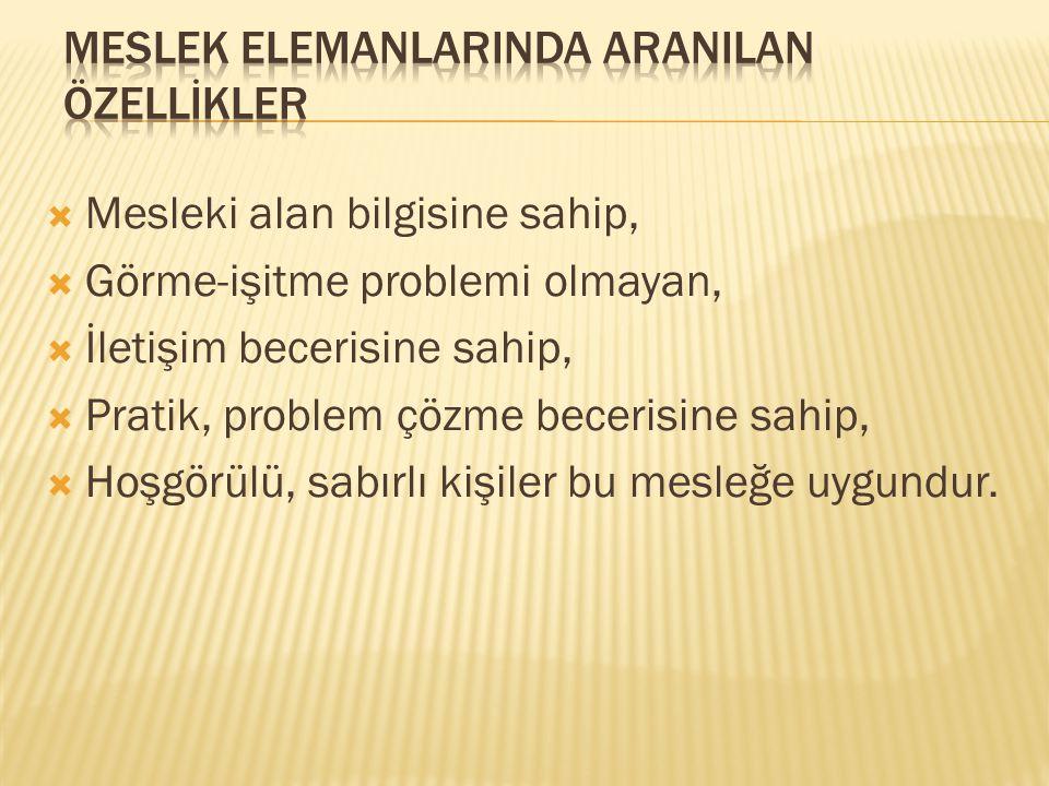 MESLEK ELEMANLARINDA ARANILAN ÖZELLİKLER
