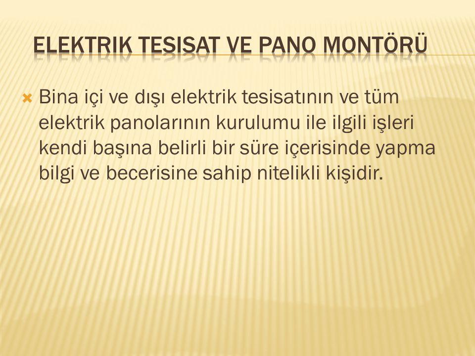 Elektrik Tesisat ve Pano Montörü