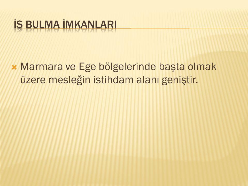 İŞ BULMA İMKANLARI Marmara ve Ege bölgelerinde başta olmak üzere mesleğin istihdam alanı geniştir.