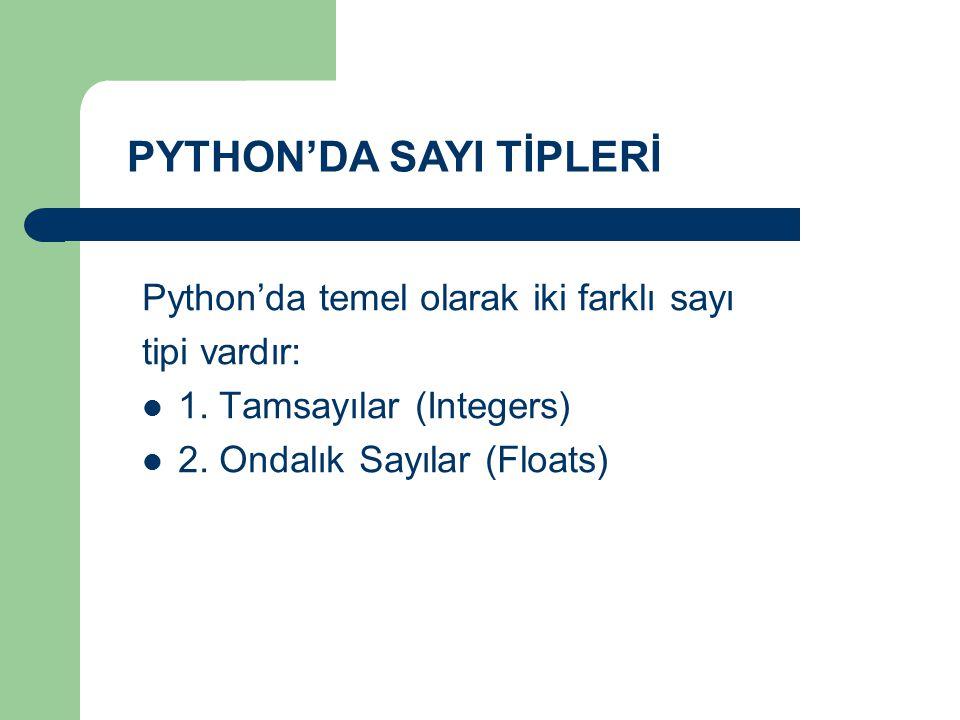 PYTHON'DA SAYI TİPLERİ