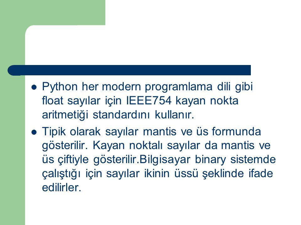 Python her modern programlama dili gibi float sayılar için IEEE754 kayan nokta aritmetiği standardını kullanır.