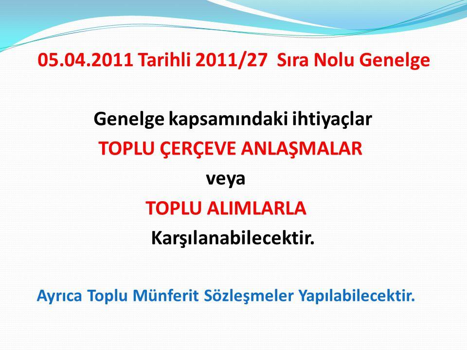 05.04.2011 Tarihli 2011/27 Sıra Nolu Genelge