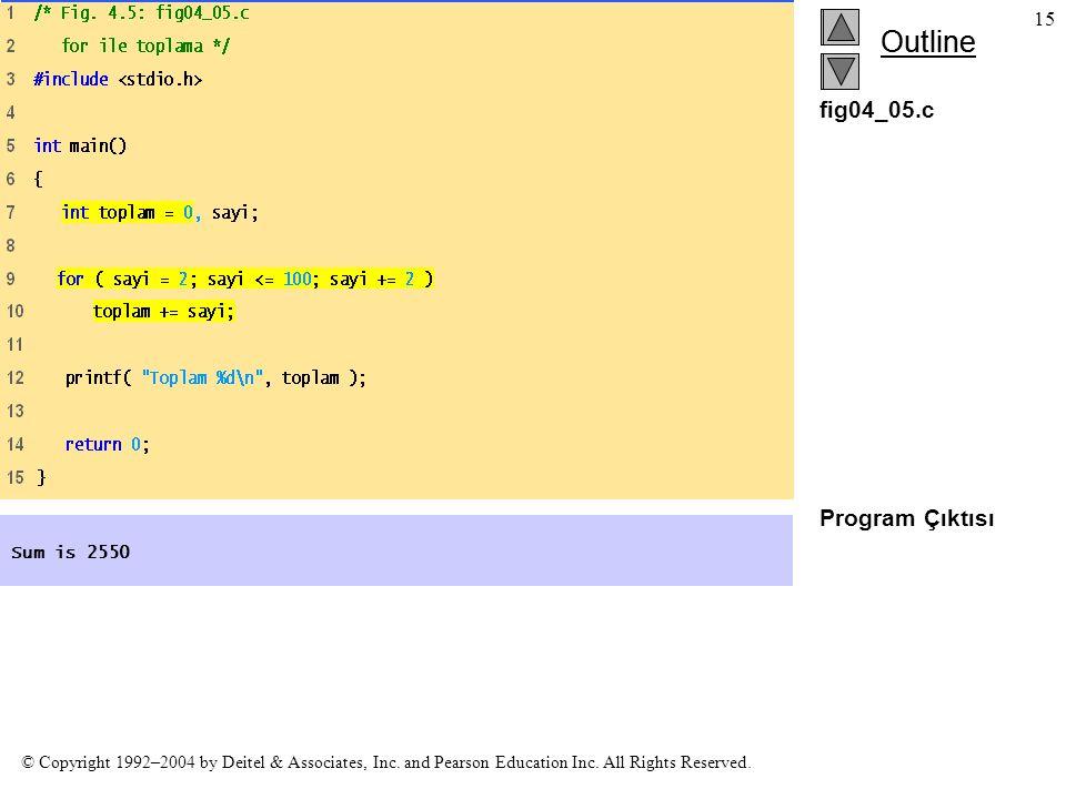 fig04_05.c Program Çıktısı Sum is 2550