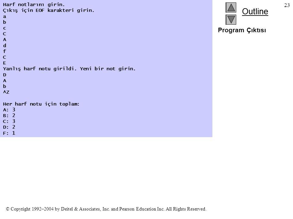 Program Çıktısı Harf notlarını girin. Çıkış için EOF karakteri girin.
