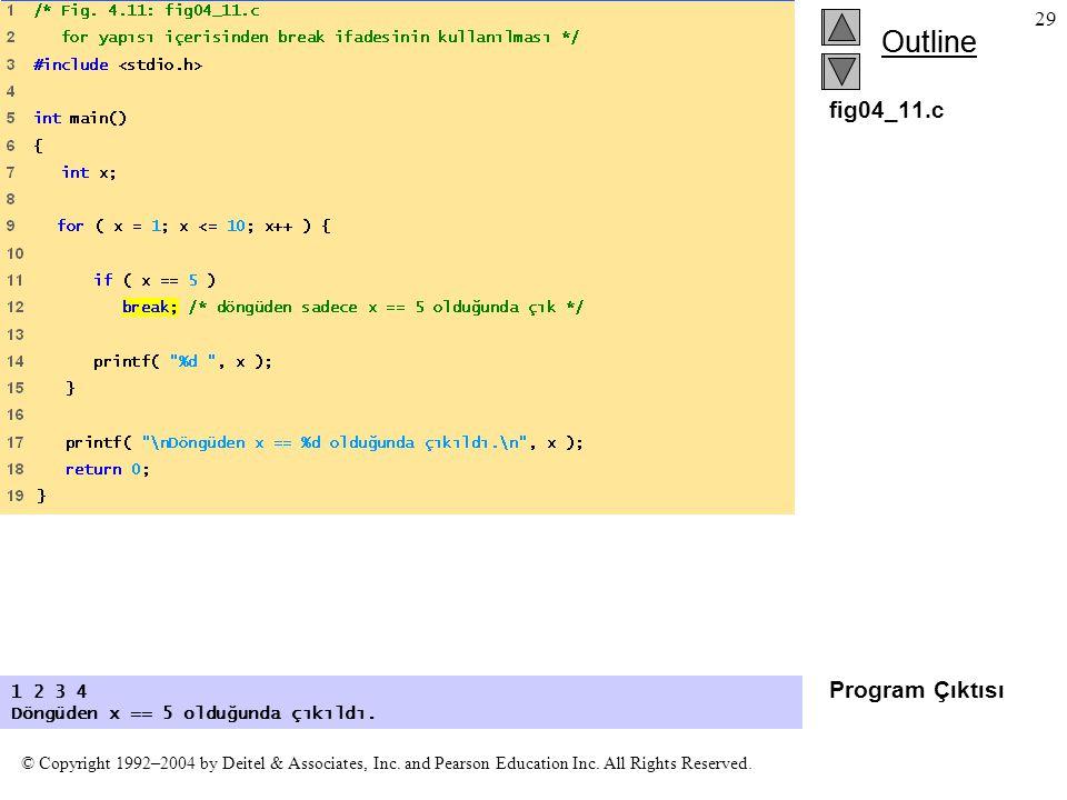 fig04_11.c Program Çıktısı 1 2 3 4 Döngüden x == 5 olduğunda çıkıldı.