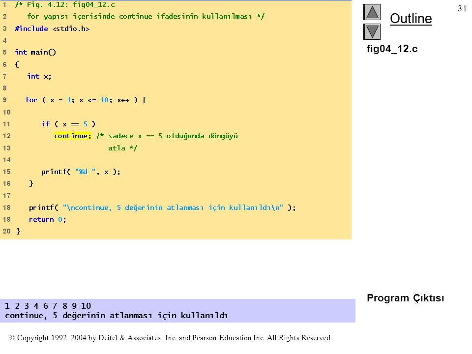 fig04_12.c Program Çıktısı 1 2 3 4 6 7 8 9 10 continue, 5 değerinin atlanması için kullanıldı