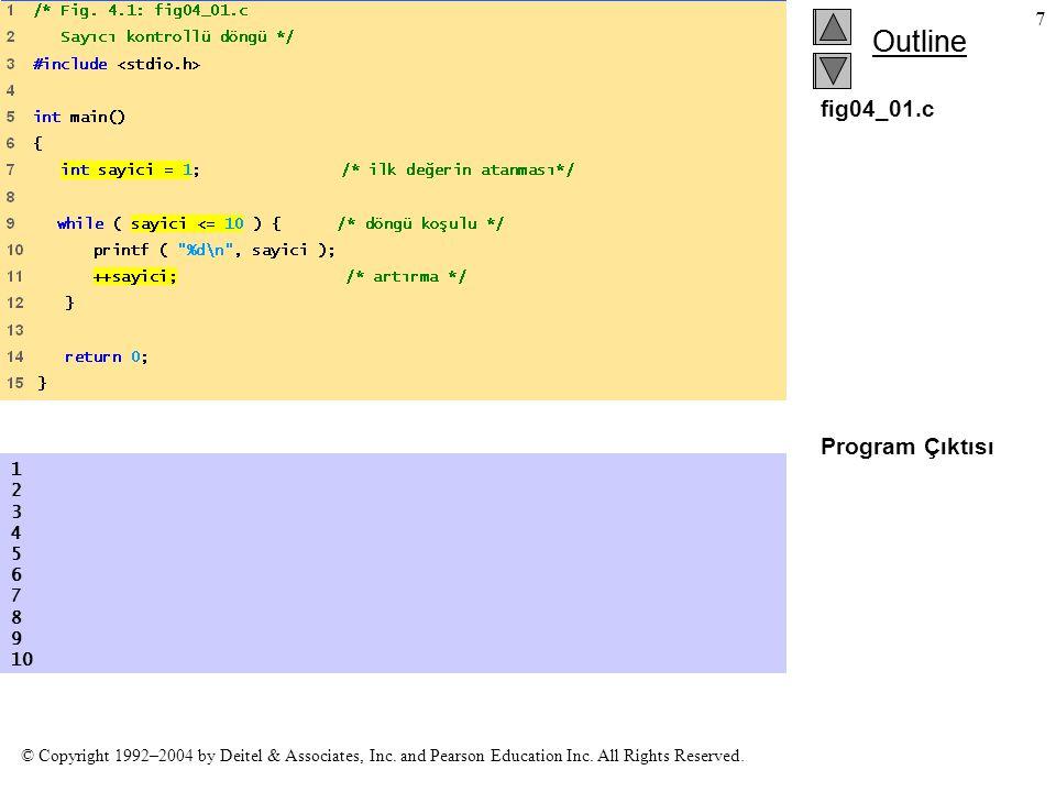fig04_01.c Program Çıktısı 1 2 3 4 5 6 7 8 9 10