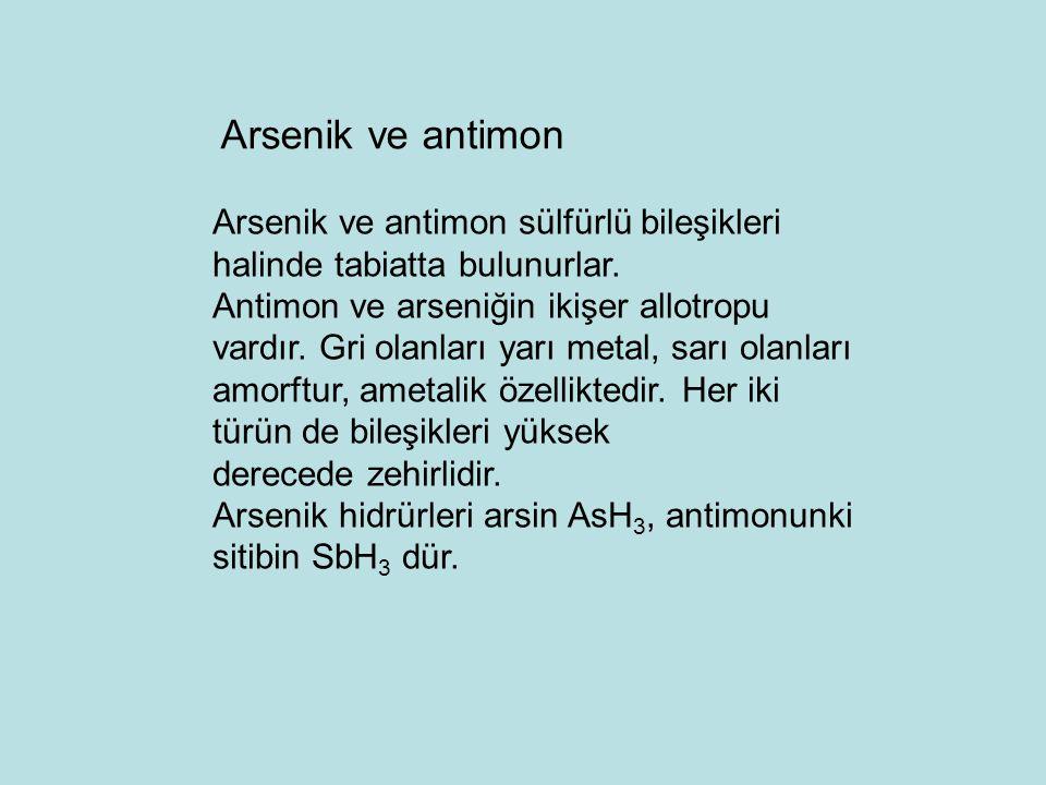 Arsenik ve antimon Arsenik ve antimon sülfürlü bileşikleri halinde tabiatta bulunurlar.