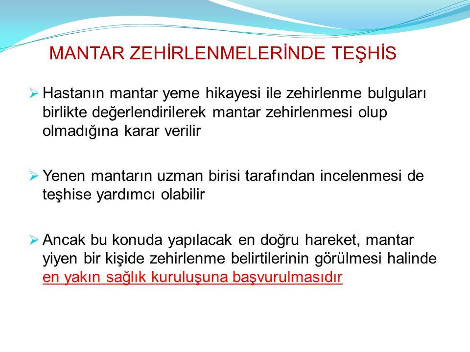 MANTAR ZEHİRLENMELERİNDE TEŞHİS