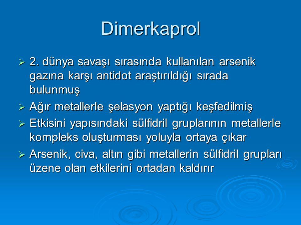 Dimerkaprol 2. dünya savaşı sırasında kullanılan arsenik gazına karşı antidot araştırıldığı sırada bulunmuş.