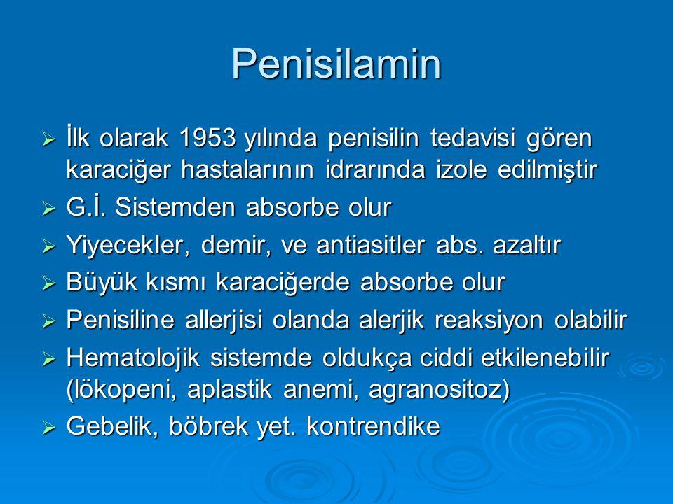 Penisilamin İlk olarak 1953 yılında penisilin tedavisi gören karaciğer hastalarının idrarında izole edilmiştir.
