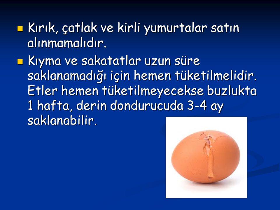 Kırık, çatlak ve kirli yumurtalar satın alınmamalıdır.