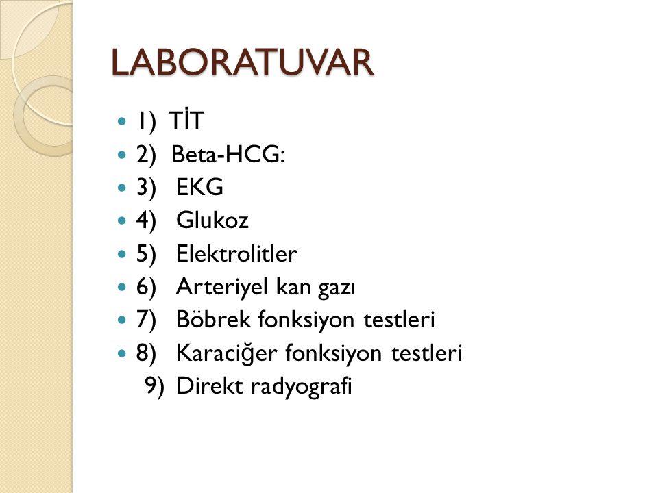 LABORATUVAR 1) TİT 2) Beta-HCG: 3) EKG 4) Glukoz 5) Elektrolitler
