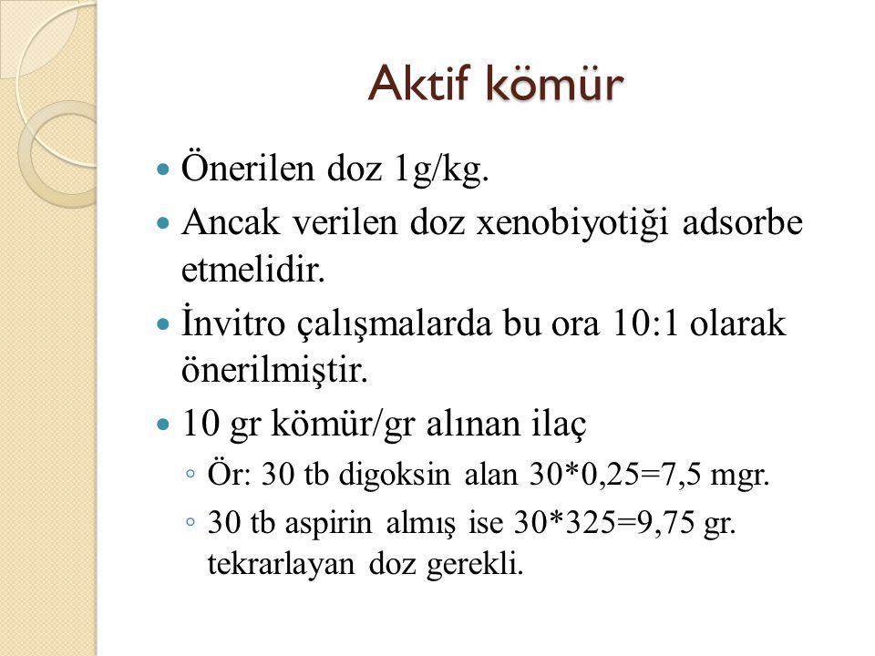 Aktif kömür Önerilen doz 1g/kg.
