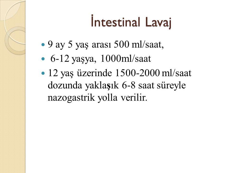 İntestinal Lavaj 9 ay 5 yaş arası 500 ml/saat, 6-12 yaşya, 1000ml/saat