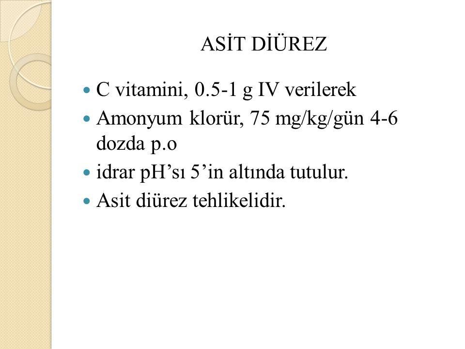ASİT DİÜREZ C vitamini, 0.5-1 g IV verilerek. Amonyum klorür, 75 mg/kg/gün 4-6 dozda p.o. idrar pH'sı 5'in altında tutulur.