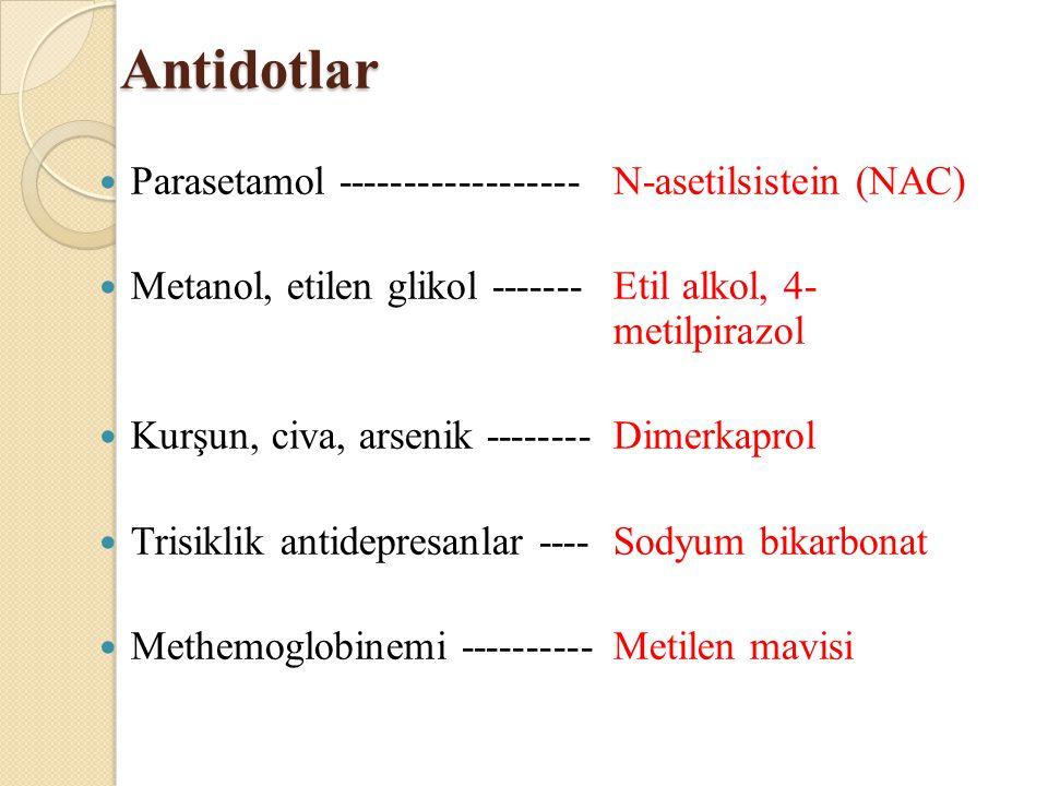 Antidotlar Parasetamol ------------------ N-asetilsistein (NAC)