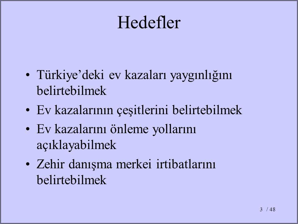 Hedefler Türkiye'deki ev kazaları yaygınlığını belirtebilmek