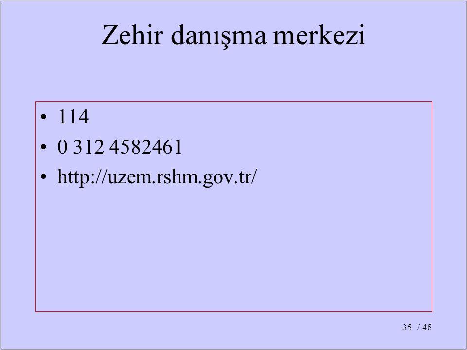 Zehir danışma merkezi 114 0 312 4582461 http://uzem.rshm.gov.tr/ / 48