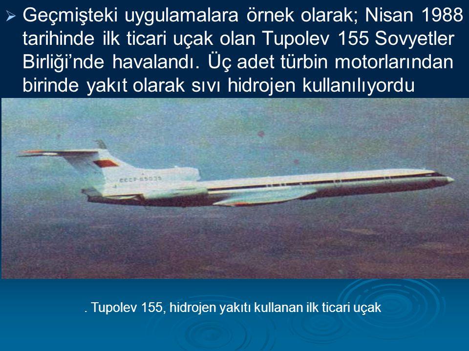 . Tupolev 155, hidrojen yakıtı kullanan ilk ticari uçak