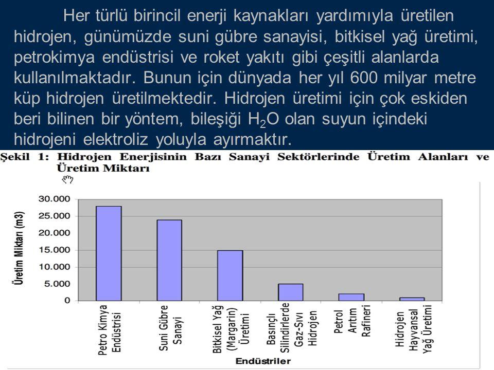 Her türlü birincil enerji kaynakları yardımıyla üretilen hidrojen, günümüzde suni gübre sanayisi, bitkisel yağ üretimi, petrokimya endüstrisi ve roket yakıtı gibi çeşitli alanlarda kullanılmaktadır.